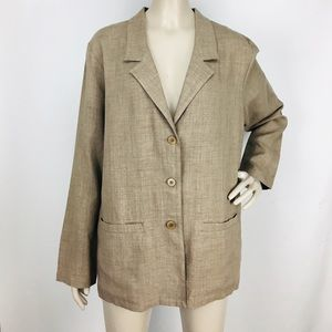Eileen Fisher Brown Linen Blend Button-Down Jacket